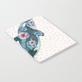 Whale Ocean Rose + Gold Polka Dot Notebook