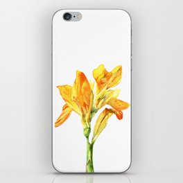 Golden Canna Yellow Flower Watercolor Painting iPhone Skin