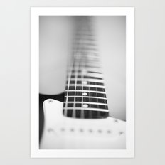 Guitar macro monochrome Art Print