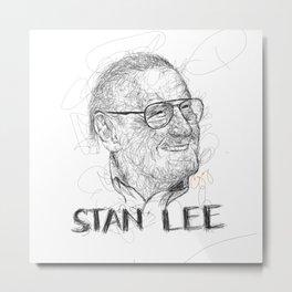 Stan Lee Scribble Metal Print