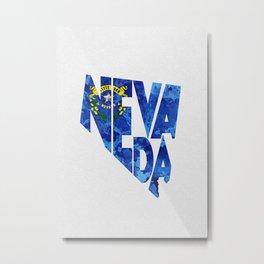 Nevada Typographic Flag Map Art Metal Print