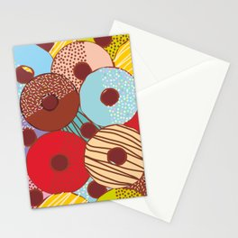 Sweet donuts set with icing and sprinkls isolated, pastel colors on chocolate Stationery Cards