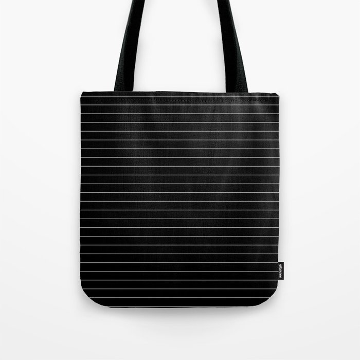 Black White Pinstripe Minimalist Tote Bag