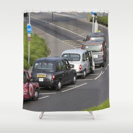 London Taxis Heathrow Airport Shower Curtain