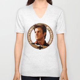 Cpt Malcolm Reynolds // Firefly // Nathan Fillion, Low Poly, Browncoats, Captain Tightpants Unisex V-Neck