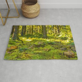 Beautiful green lush nature in the forest, Germany Rug