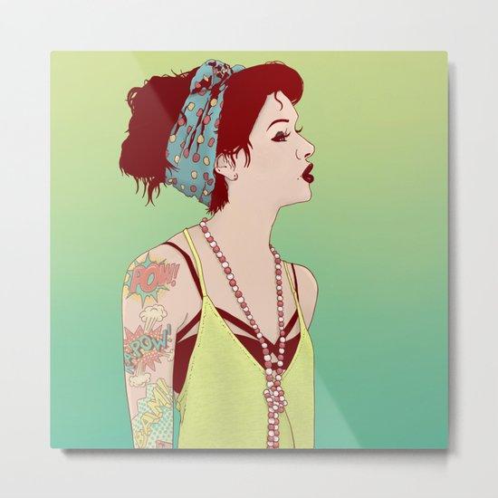 Pop Art Lady Metal Print