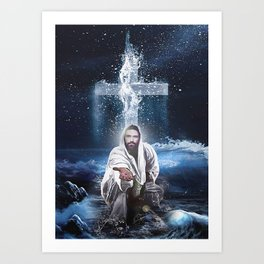 Poster Jesus Outstretched Hands Saves Art Print