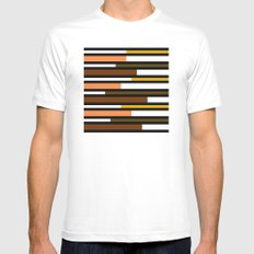 Brown, green, yellow & pink stripes MEDIUM Mens Fitted Tee White