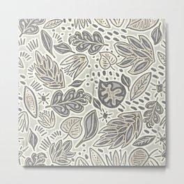 Linocut Neutral Nature Metal Print