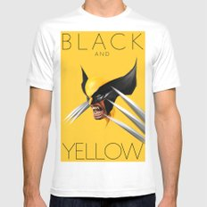 BLACK AND YELLOW Mens Fitted Tee White MEDIUM