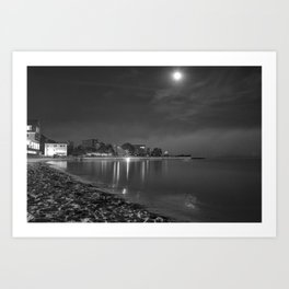 Foggy Moonlit Beach B&W Art Print