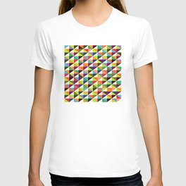 Geometric Pattern 86 (colorful mid-century triangle) T-shirt