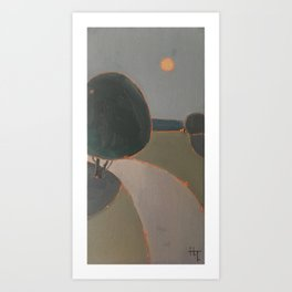 Moon over the road Art Print