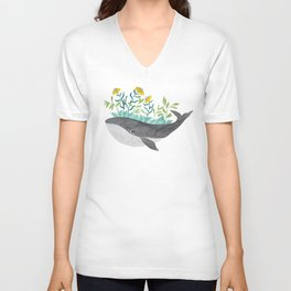 whale with mustard flowers watercolor Unisex V-Neck