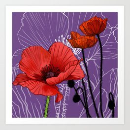 Poppy - Birth Month Flower for August Art Print