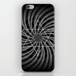 Metatron's Cube Grayscale Spiral of Light iPhone Skin