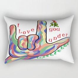ASL I Love You Under Mistletoe Rectangular Pillow