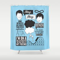 fault in our stars Shower Curtains featuring The Fault In Our Stars Collage by laurenschroer
