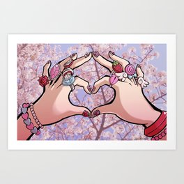 Heart Hands - Sakura Trees Art Print