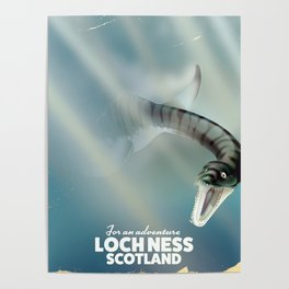 Loch Ness Scotland monster vintage travel poster Poster