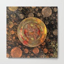 Orange Bubble Metal Print