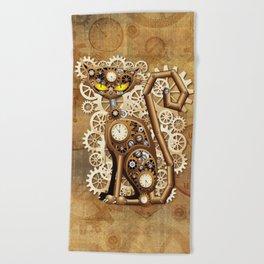 Steampunk Cat Vintage Style Beach Towel