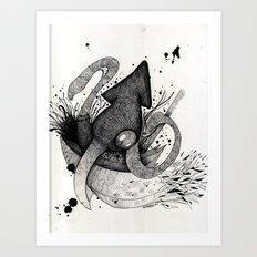 Squid & Ship Art Print