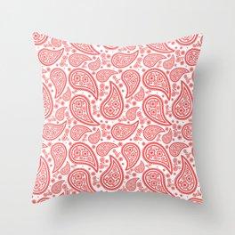 Paisley (Salmon & White Pattern) Throw Pillow