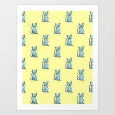 Crazy Cat (Blue/Yellow) Art Print