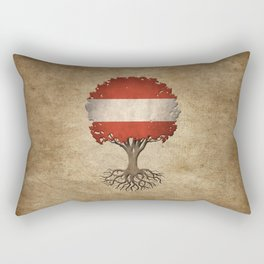 Vintage Tree of Life with Flag of Austria Rectangular Pillow