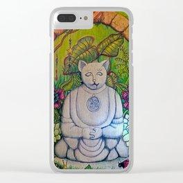 Buddha Cat Clear iPhone Case