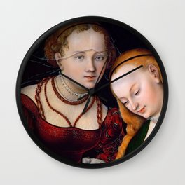 """Lucas Cranach the Elder """"Judith with the Head of Holofernes and a Servant"""" Wall Clock"""