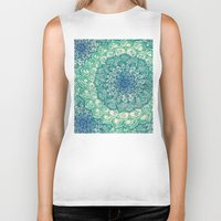 navy Biker Tanks featuring Emerald Doodle by micklyn