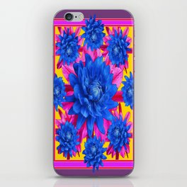 Decorative Puce Fuchsia Color Blue Tropical Flowers Pattern iPhone Skin