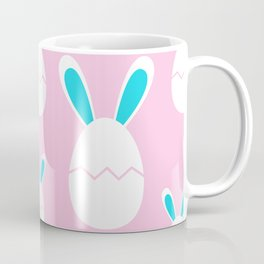 Happy Bunnies in Pink   Easter Bunny   Easter Egg Bunny   pulps of wood Coffee Mug