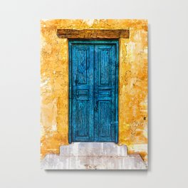 Blue Door Yellow Wall - For Doors & Travel Lovers Metal Print