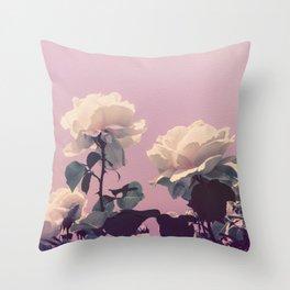 Vintage Spring Pearl White Roses Lavender Sky Throw Pillow