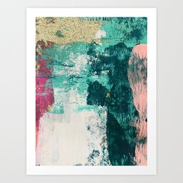 Curious [4]: a vibrant, minimal abstract mixed-media piece in teal, pink, white and gold Art Print