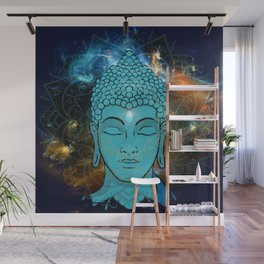 Blue Face of Buddha in the Galaxy Wall Mural