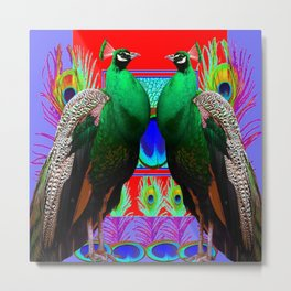 GREEN PEACOCKS & RED-PURPLE  MODERN ART Metal Print
