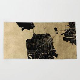 San Francisco California Black and Gold Map Beach Towel