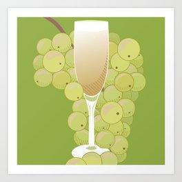 Champagne & Grapes Art Print