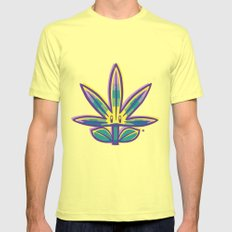 Super Weed Mens Fitted Tee SMALL Lemon