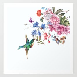 bird on flower Art Print