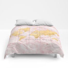 """Adventure awaits, gold and pink marble detailed world map, """"Sherry"""" Comforters"""