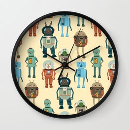 Hamster space robots Wall Clock