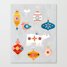 christmas vintage decorations with bear and bird Canvas Print