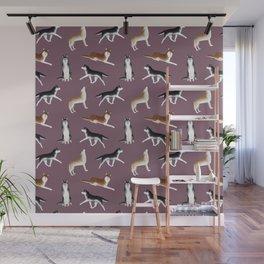 Husky Pattern (Dusty Purple Background) Wall Mural