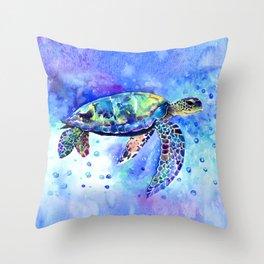 Sea Turtle, Underwater Scene Throw Pillow